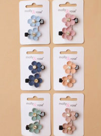 Clip / Card of 2 fabric flower clips with diamante centre.