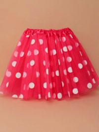 Tutu / Fuchsia pink tutu with large white printed spots.