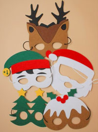 Xmas / Assorted pack of Christmas themed felt masks.