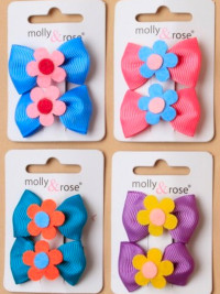 Clips / 2pk Grosgrain 3cm bows with felt flower clips.