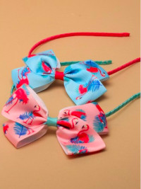 Aliceband / Narrow satin aliceband, Flamingo print bow.