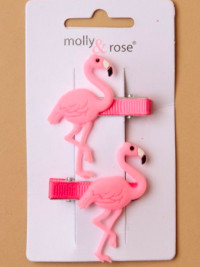 Clips / 2pk Pink rubber flamingo on a clip.