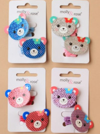 Elastics / Card of 2 glitter teddy face bobbles