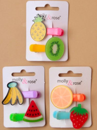 Clip / 2pk Bright coloured clips with glitter fruit motif.