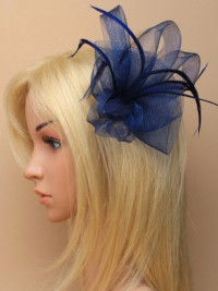 Fascinator / Amber -Looped net and feather on a clip & pin