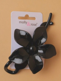 Clip / Black flower chignon twist pin. 11cm