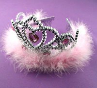 Tiara  / Crystal Heart tiara with feather Trim.