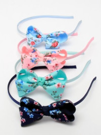 Aliceband / Double grosgrain bow with floral print aliceband