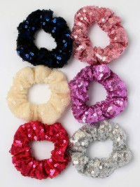 Scrunchie / Small size sequin fabric scrunchie.