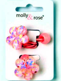 Elastics / Card of 2 glitter flower/ heart motif bobbles.