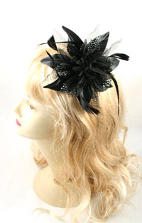 Fascinator / Molly - Black Feather Flower fascinator.