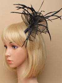 Fascinator/ Abigail - Black fabric and feather fascinator.
