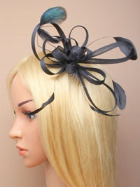 Fascinator / Maisy - Black colied feather fascinator.