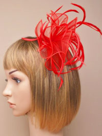Fascinator/ Abigail - Red fabric and feather fascinator.