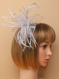 Fascinator / Abigail - Grey fabric and Feather fascinator.