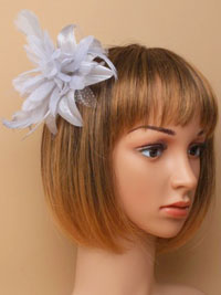 Fascinator / Molly - Silver grey Feather Flower