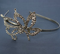 Aliceband /  narrow silv band with crystal flower/bow side m