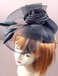 Fascinator/ Black Hat with rose and mesh.