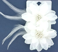 Fork Clips / White fabric flower with glitter edge.
