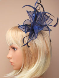 Fascinator / Abigail - Navy fabric and feather fascinator.