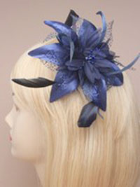 Fascinator / Molly - Navy Feather Flower on a comb.