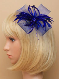 Fascinator / Willow - Navy Looped net fascinator.