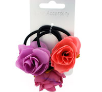 Elastics / Card of 3 Black elastics with Fabric roses.