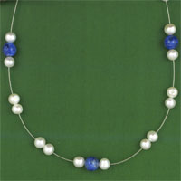 ILLUSION NECKLET, LAPIS/FWP