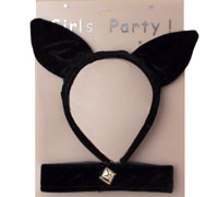 Fancy Dress / Black cat headband with collar set.