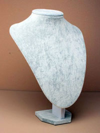 Silver Grey Velvet Jewellery Bust Necklace Display Stand.