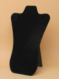 Black Velvet Jewellery Bust Necklace Display Stand 28x18cm.