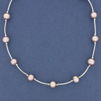 SILVER NECKLET, PINK F.W.P.