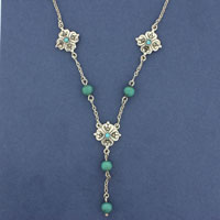 MARCASITE NECKLET, TURQUOISE