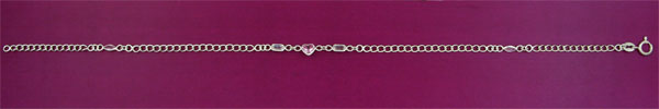 SILVER ANKLET, CLEAR./PINK C.Z.