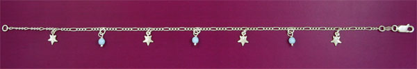 SILVER ANKLET, IMIT. TURQ
