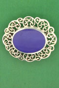 SILVER BROOCH, LAPIS