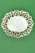 SILVER BROOCH, MOTHER OF PEARL