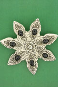 MARCASITE BROOCH, ONYX