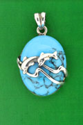 SILVER PENDANT, TURQUOISE