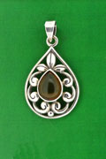 SILVER PENDANT, AMBER