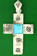 MARCASITE CROSS, SYNTH BLUE OPAL