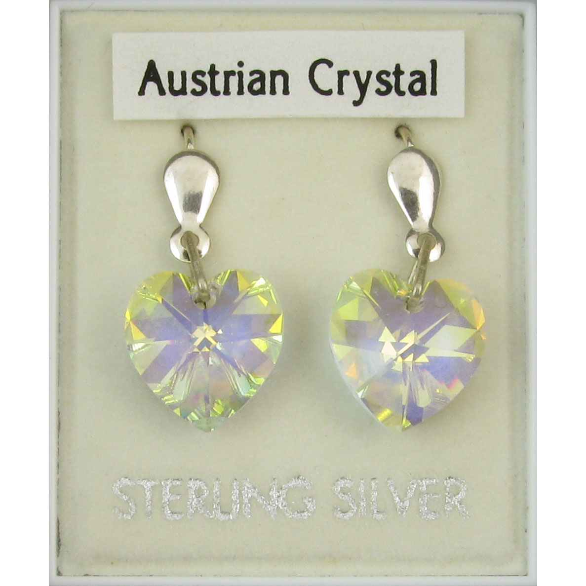 SILVER EARRING, AB CRYSTAL