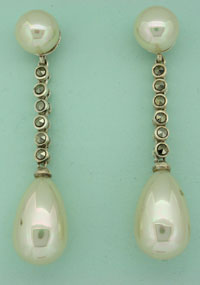 MARCASITE EARRING, IMIT. PEAR
