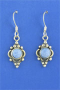 SILVER EARRING, DENIM LAPIS