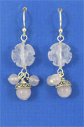SILVER EARRING, ROSE QUARTZ