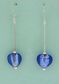 SILVER E/R, BLUE MURANO GLASS