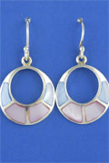 SILVER EARRING, BL/PINK SHELL