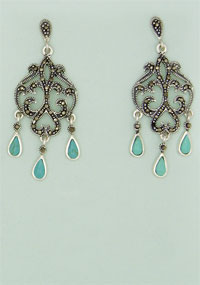 MARCASITE EARRING, TURQUOISE