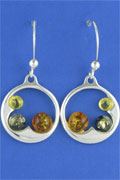 SILVER EARRING, MIXED AMBER