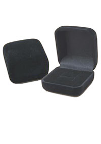 BLACK FLOCKED RING BOX